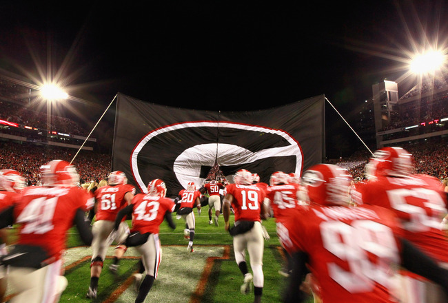 ATHENS, GA - NOVEMBER 27:  The Georgia Bulldogs enter the field to face the Georgia Tech Yellow Jackets at Sanford Stadium on November 27, 2010 in Athens, Georgia.  (Photo by Kevin C. Cox/Getty Images)