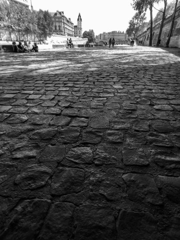 Ancient cobblestones line the banks of the River Seine in Paris, France.