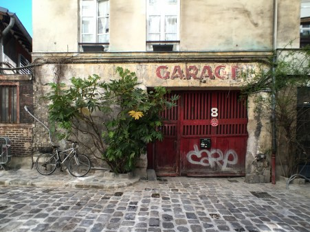 The garage door of a building in Paris, France.