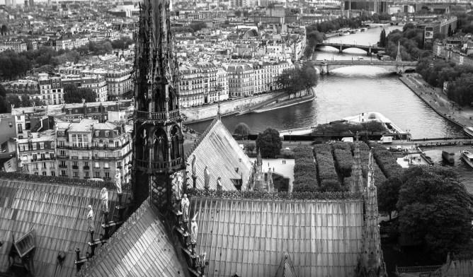 Bridges across the Seine River in Paris, France.