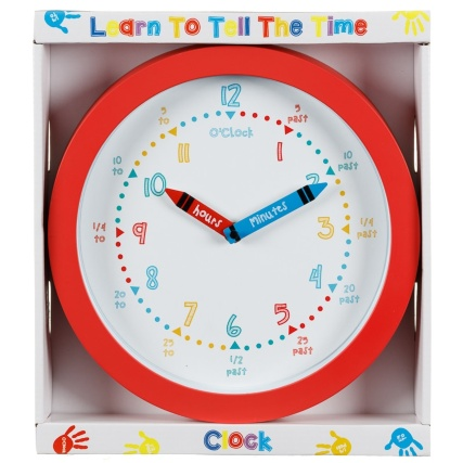 Learn to Tell the Time Clock  Red  Home Decor  BM Stores
