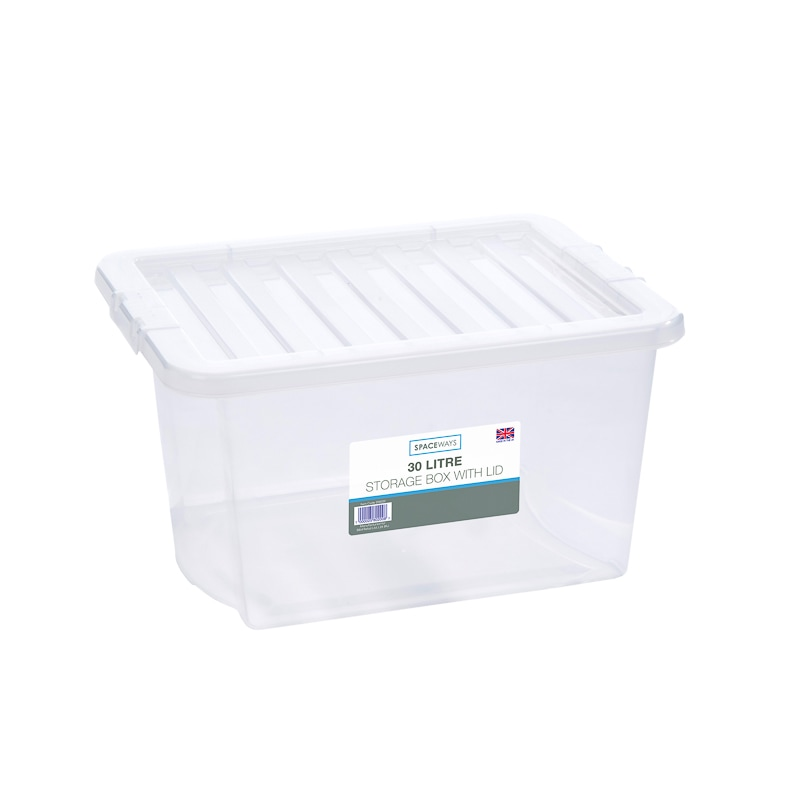 Clear Storage Box with Lid 30L  Storage Boxes  BM