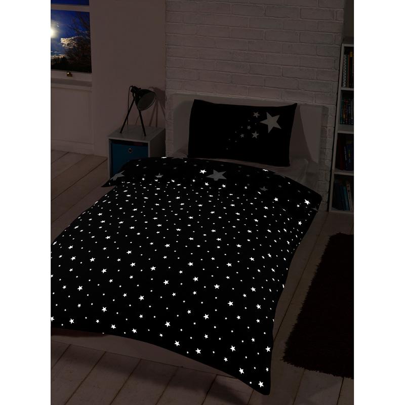 Glow in the Dark Single Duvet Set  Black  Bedding  Duvet Sets