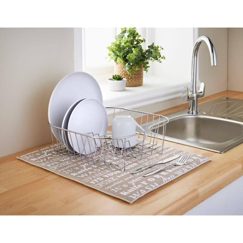 kitchen dish drying mat daisy decor addis microfibre printed taupe text b m 332202 mircofiber 2