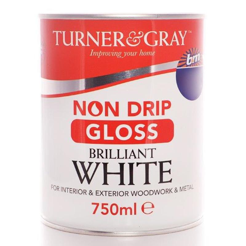 Turner  Gray Non Drip Gloss  Brilliant White 750ml  Paint