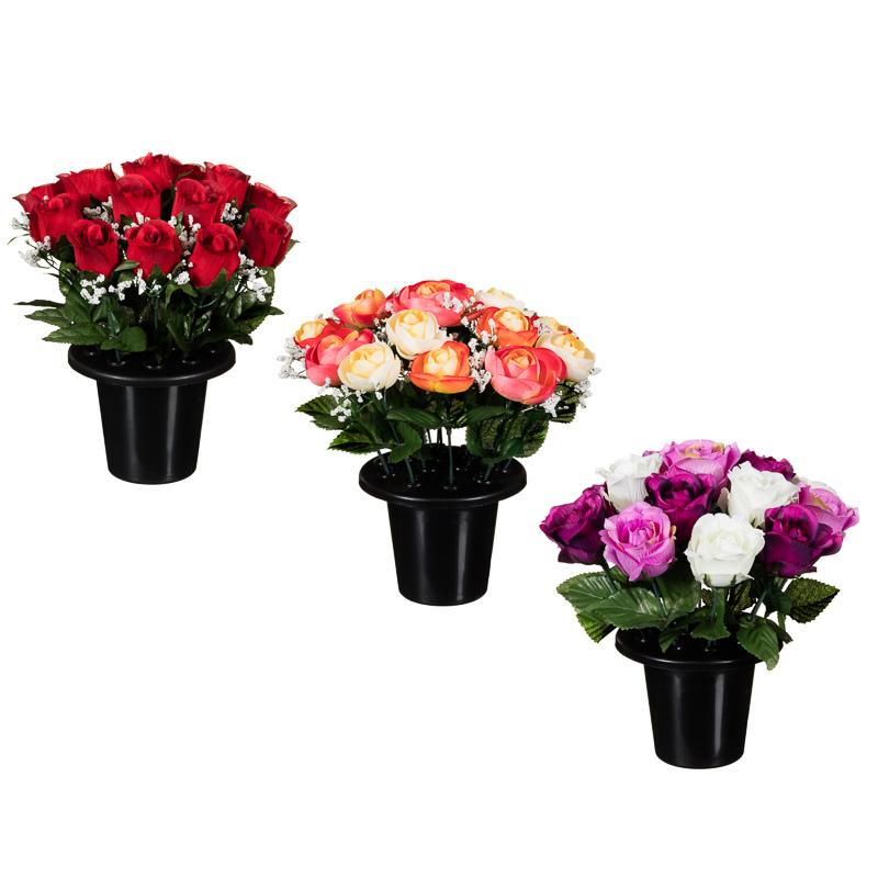 Floral Grave Pots 25cm  Artificial Flowers  Plants