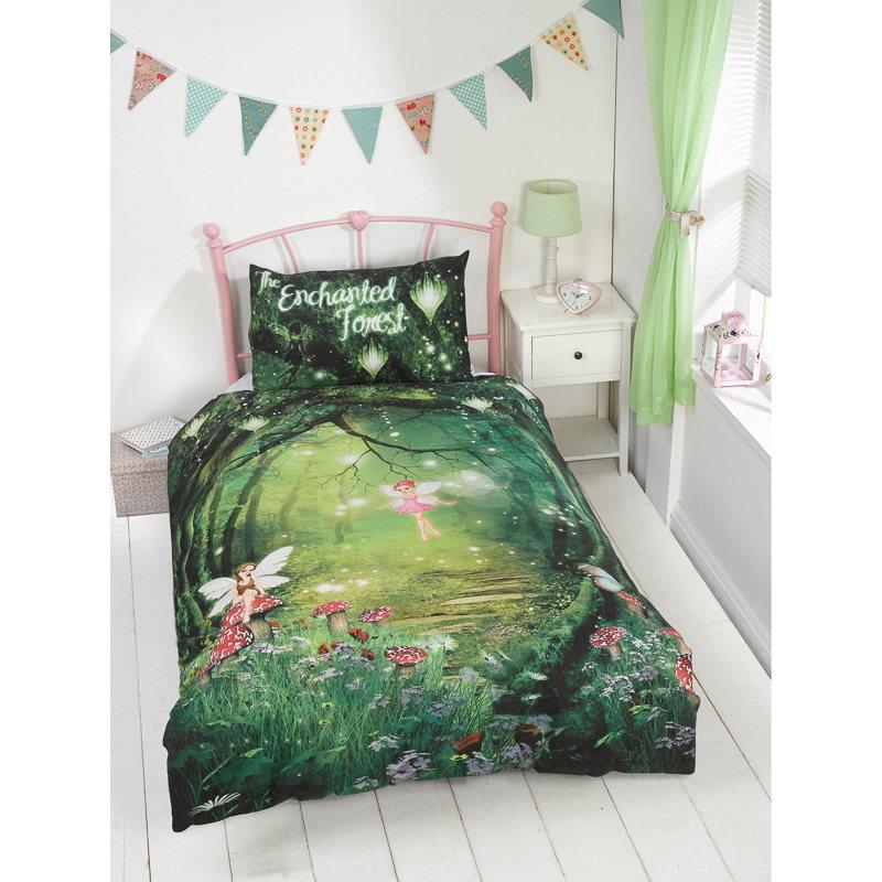 Kids Glow in the Dark Single Duvet Set  Enchanted Forest  Bedding