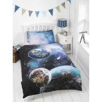 Kids Glow in the Dark Single Duvet Set - Planets | Bedding