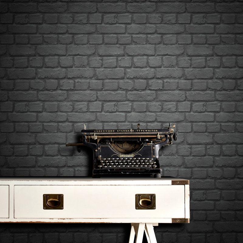 Rasch Brick Wallpaper  Black  Decorating DIY