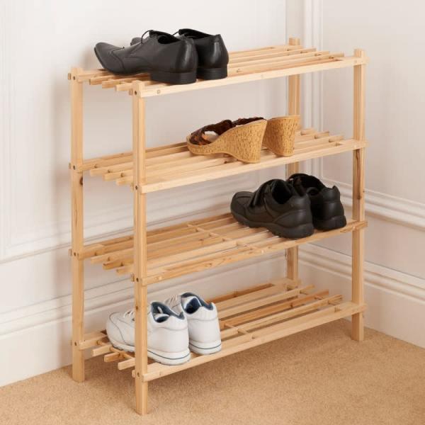 4 Tier Wooden Shoe Rack   Storage   Shelving - B&M