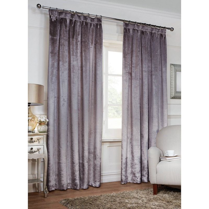 Versailles Crushed Velvet 3 Tape Fully Lined Curtain 46 x