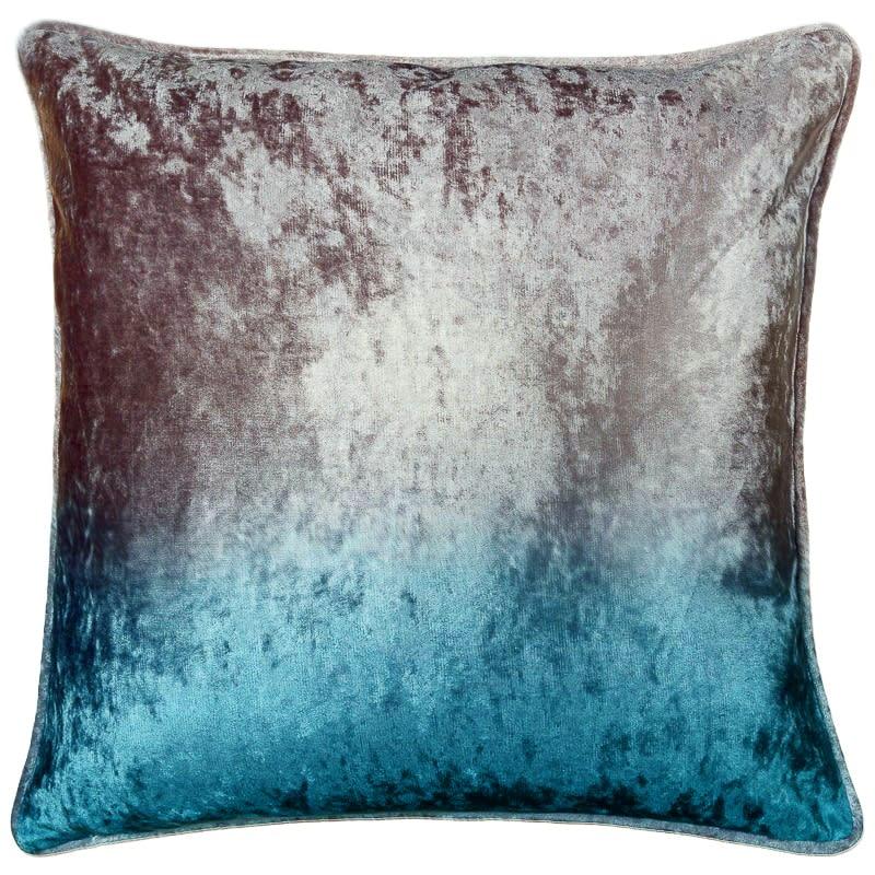Ombre Velvet Cushion  Silver  Teal  Cushions  BM
