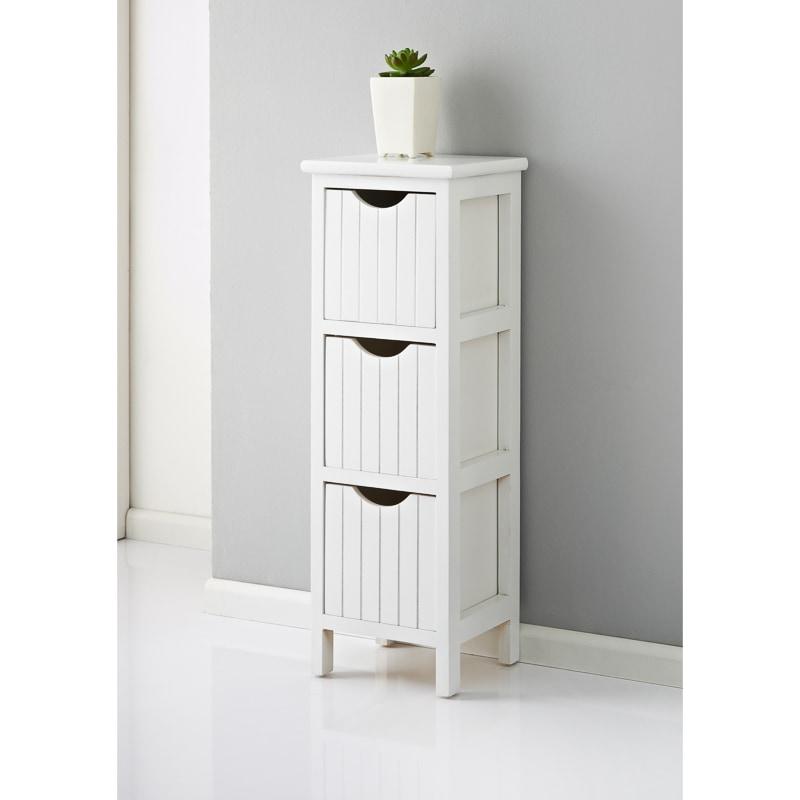 Maine 3 Drawer Chest  White  Home  Bathroom Furniture  BM