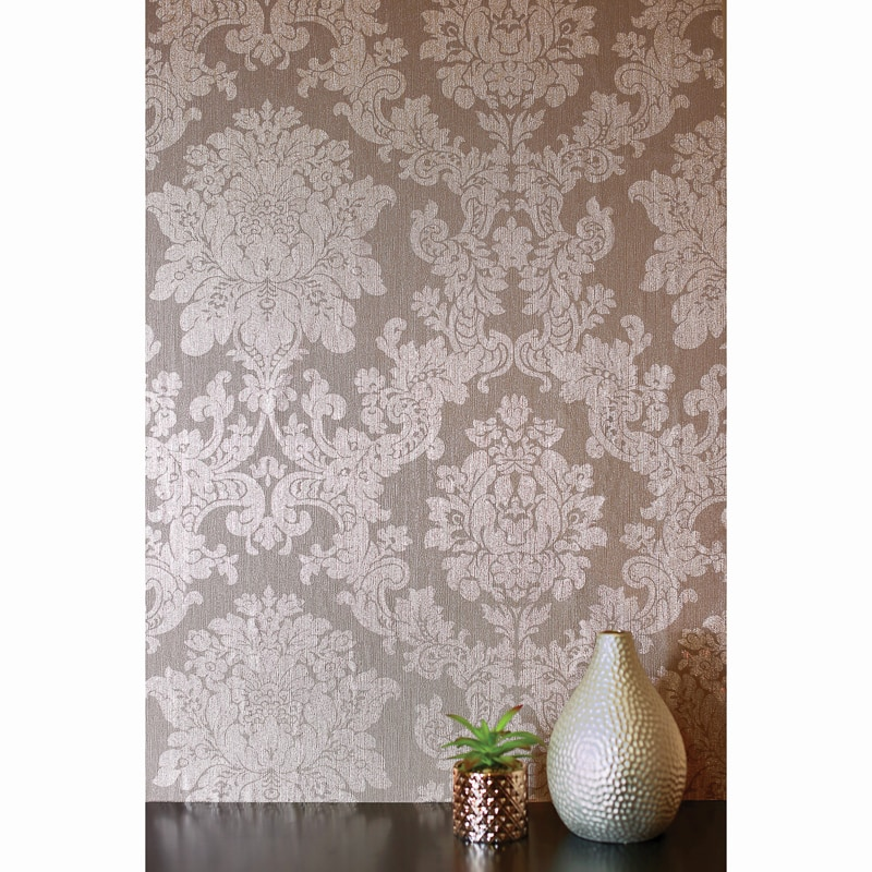Velvet Damask Wallpaper Rose Gold DIY BampM