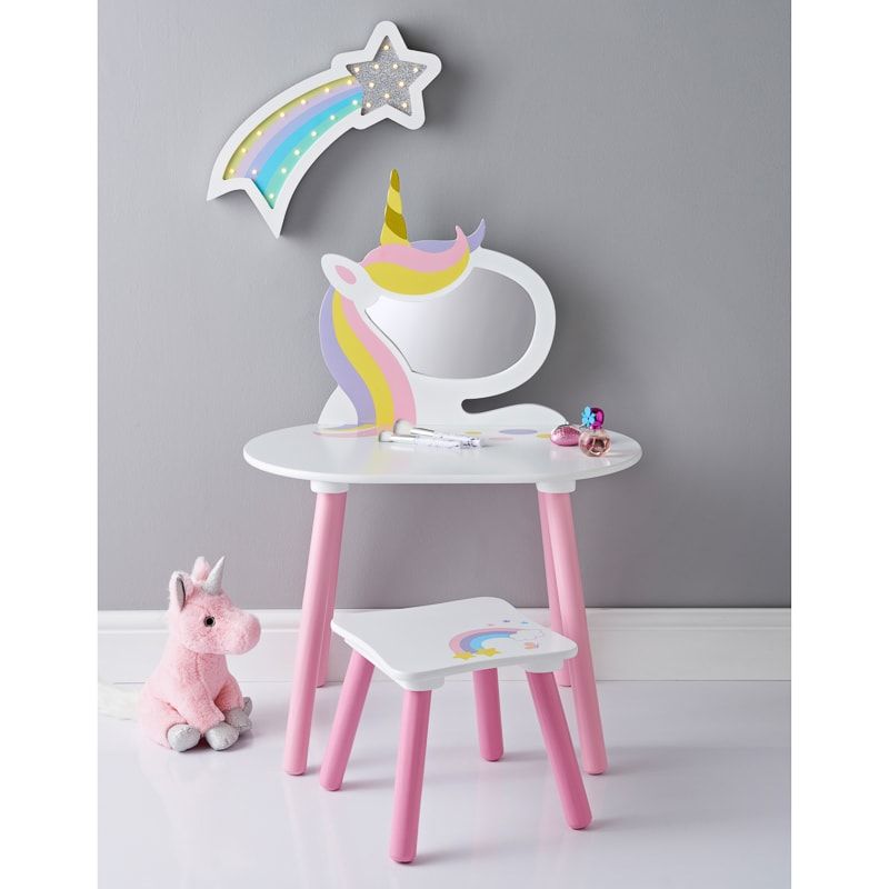 little kids table and chairs toddler wooden rocking chair unicorn vanity set with stool & mirror | furniture - b&m