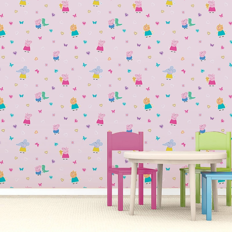 Cute Pink Pig Wallpaper Peppa Pig Wallpaper Pink Diy B Amp M