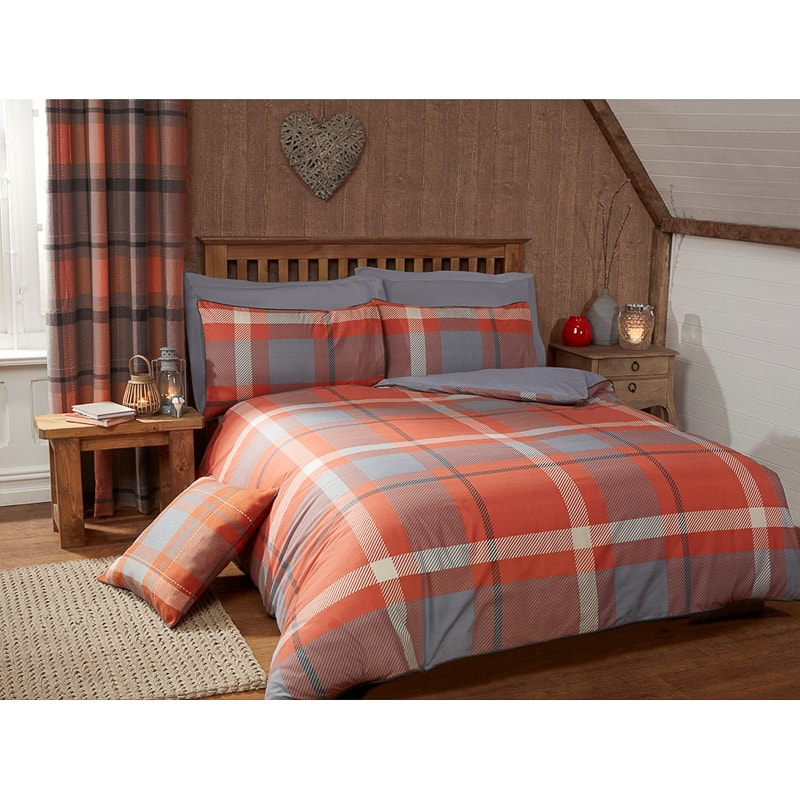 Tara Woven Check Double Duvet Set  Bedding  BM