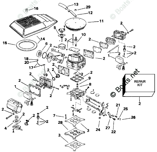 OMC Sterndrive Parts 5.80 Liter OEM Parts Diagram for