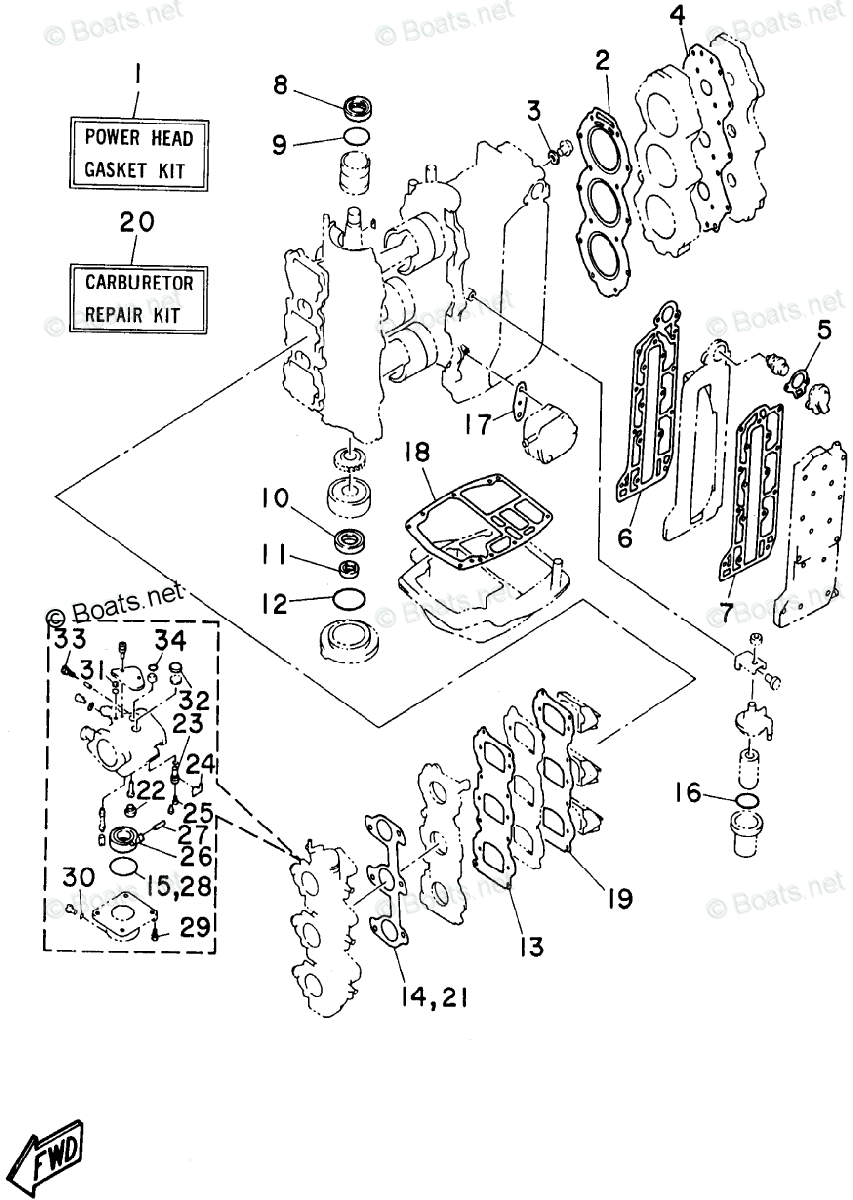 Yamaha Outboard Parts by HP 60HP OEM Parts Diagram for