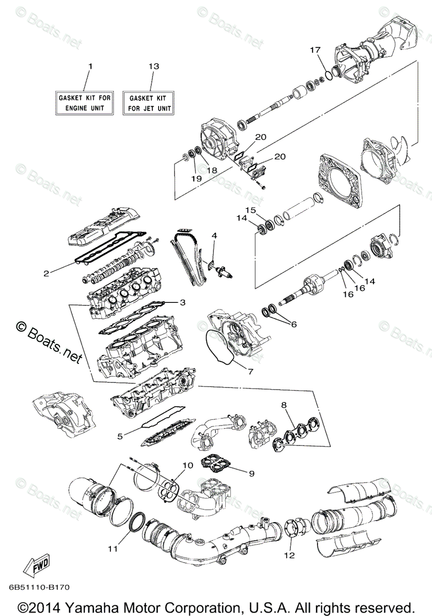 Yamaha Boat Parts 2005 OEM Parts Diagram for Repair Kit
