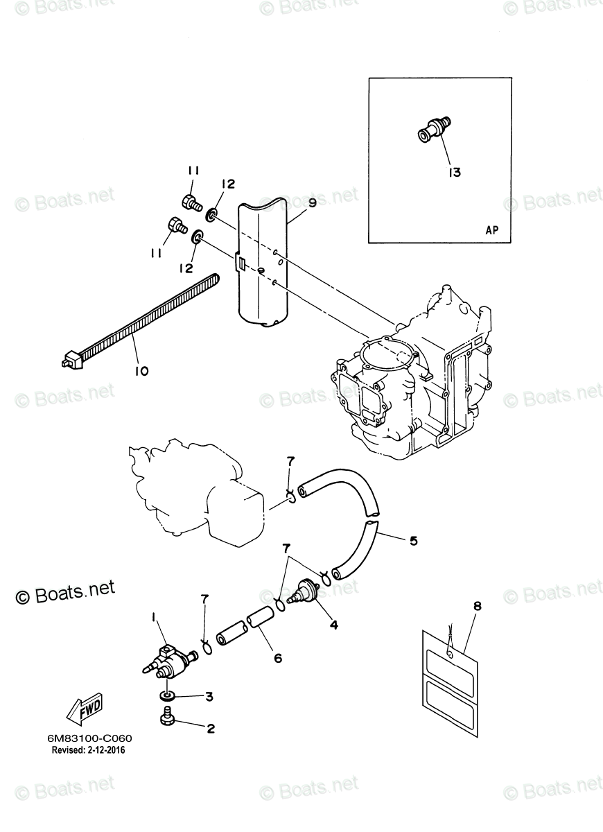 Yamaha Outboard Parts by HP 8HP OEM Parts Diagram for Fuel