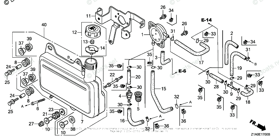 Honda Small Engine Parts GC190 OEM Parts Diagram for FUEL