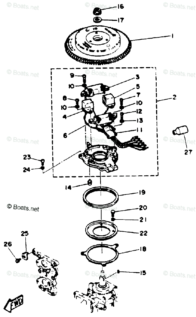 Yamaha Outboard Parts by HP 25HP OEM Parts Diagram for CDI