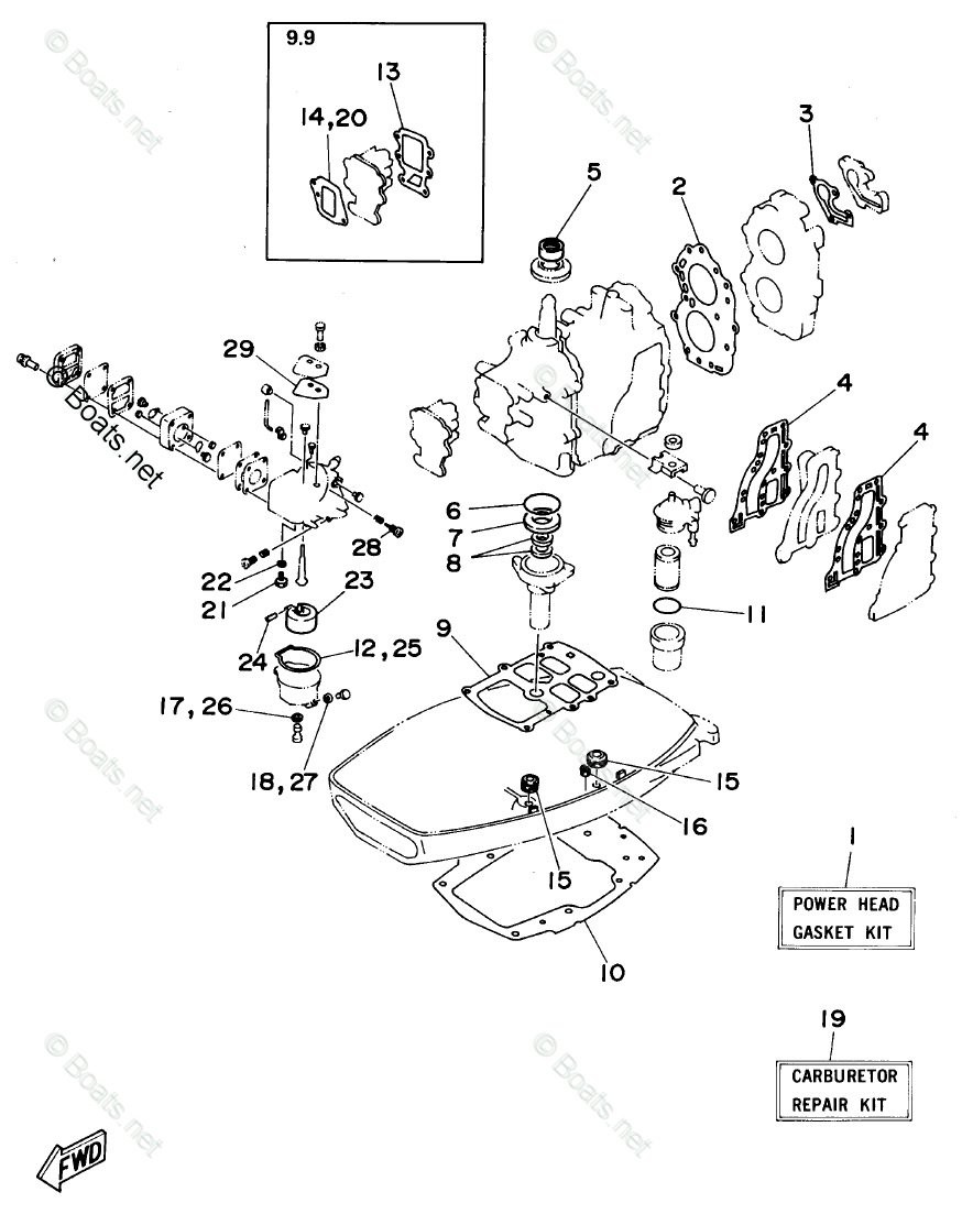 Yamaha Outboard Parts by HP 15HP OEM Parts Diagram for
