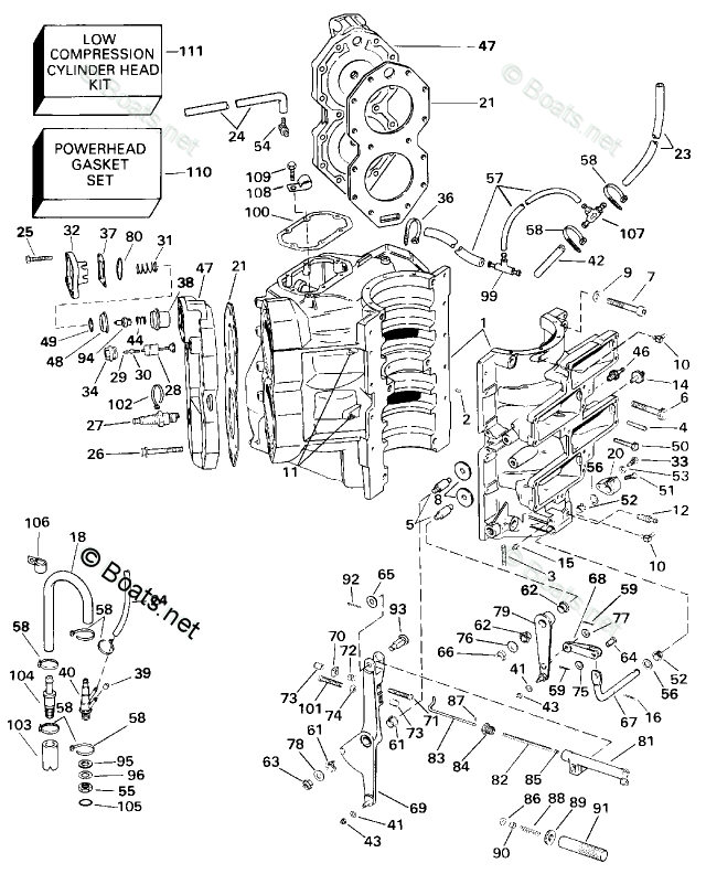 Johnson Outboard Parts by HP 120HP OEM Parts Diagram for