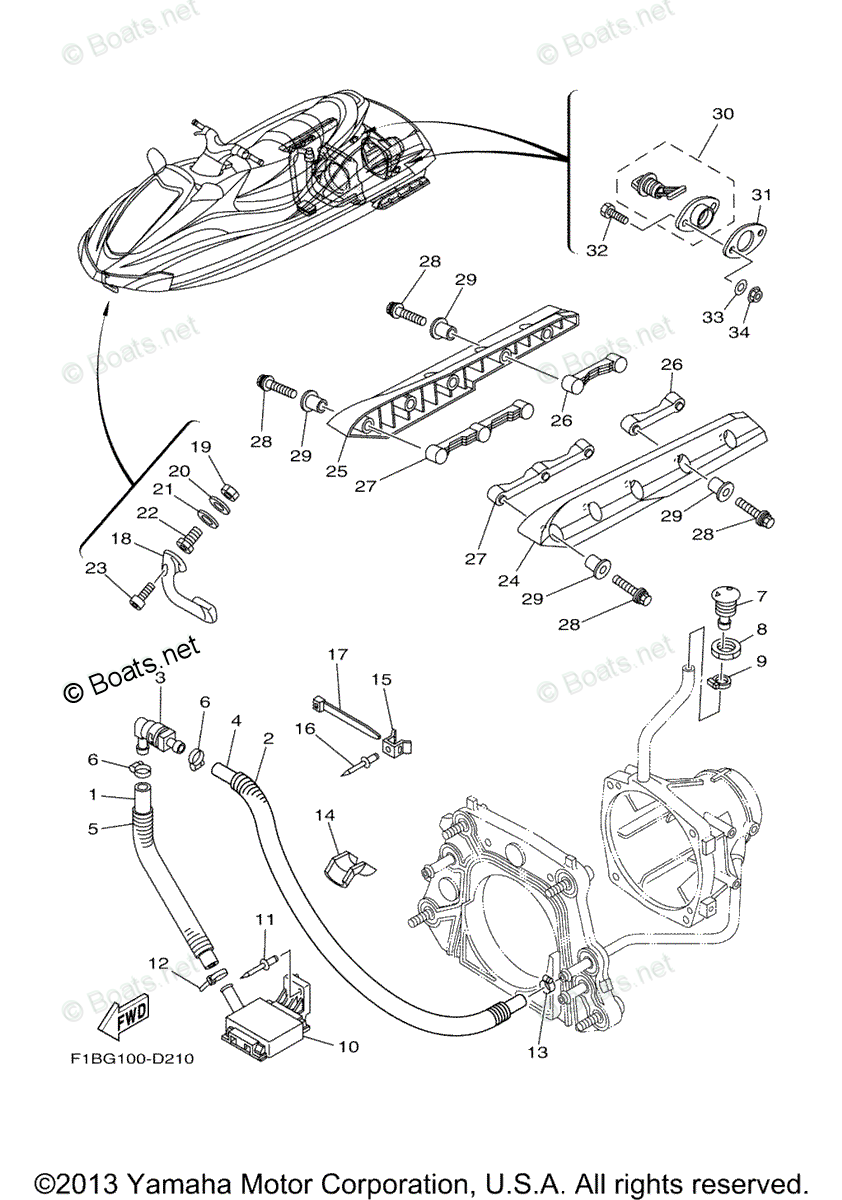 Yamaha Waverunner Parts 2005 OEM Parts Diagram for Hull