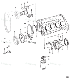 mercury mercruiser inboard parts by size serial gas oem parts diagram for water pump and front cover boats net [ 1000 x 1143 Pixel ]