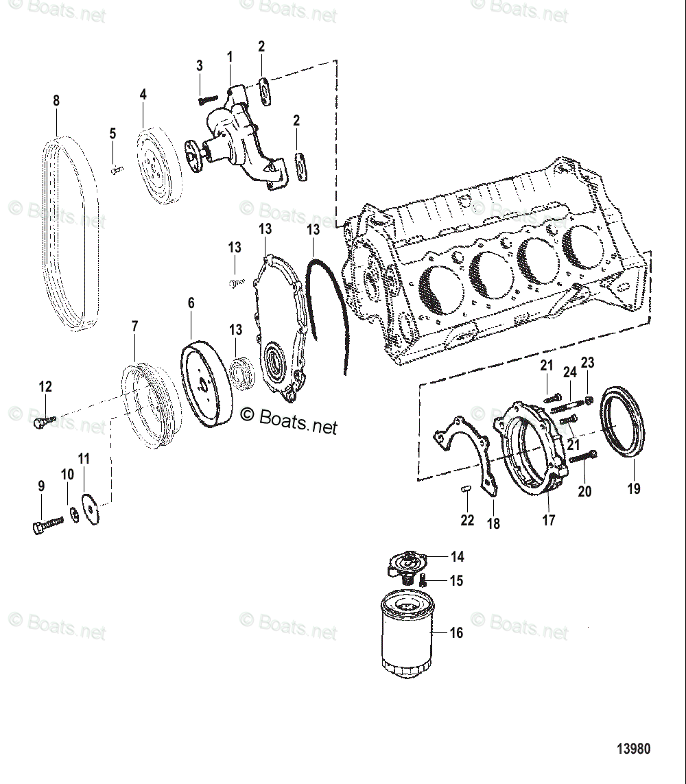 medium resolution of mercury mercruiser inboard parts by size serial gas oem parts diagram for water pump and front cover boats net