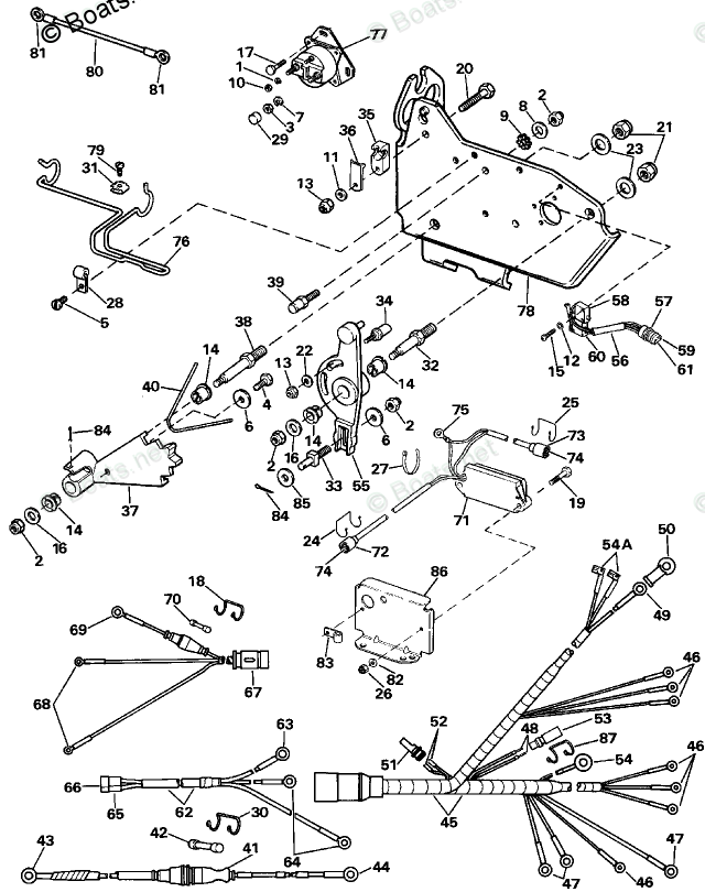 OMC Sterndrive Parts 5.70 Liter OEM Parts Diagram for Wire