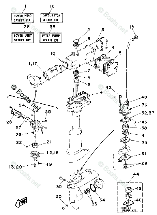 Yamaha Outboard Parts by Year 1994 OEM Parts Diagram for