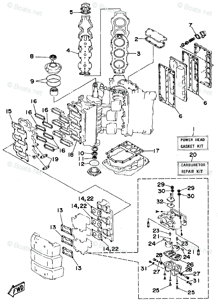 Yamaha Outboard Parts by HP 150HP OEM Parts Diagram for