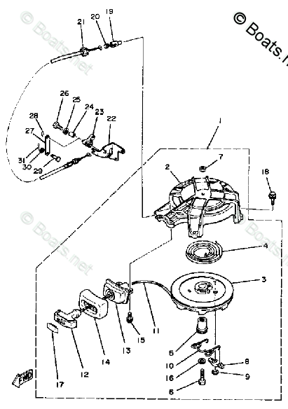 Yamaha Outboard Parts by HP 5HP OEM Parts Diagram for