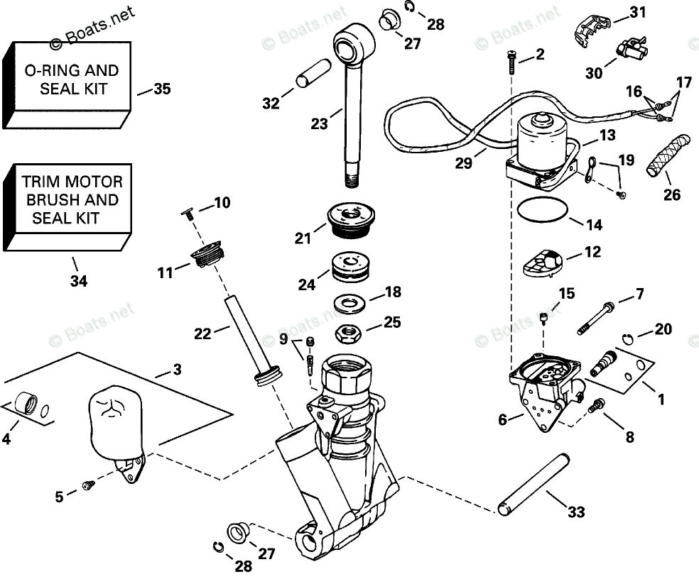 Evinrude Outboard Parts by HP 225HP OEM Parts Diagram for