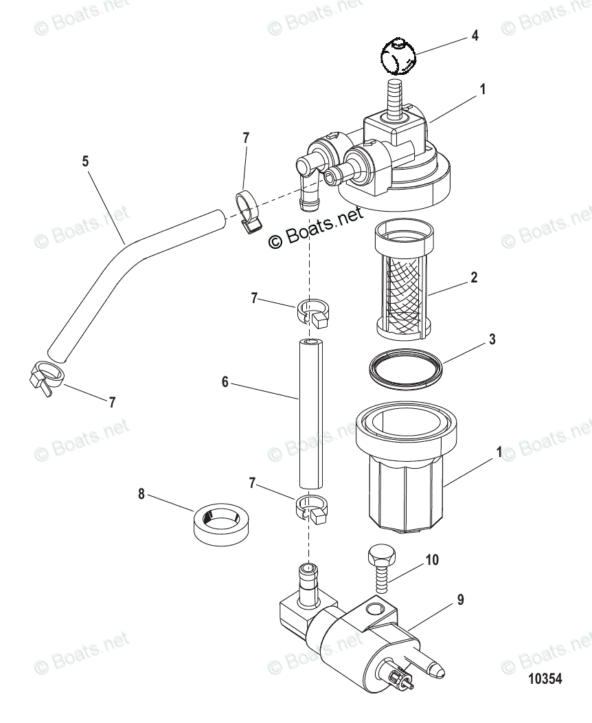 hight resolution of mercury mercury mariner outboard parts by hp liter 8hp oem parts diagram for fuel filter assembly usa 1b153168 bel 0p360021 and up boats net