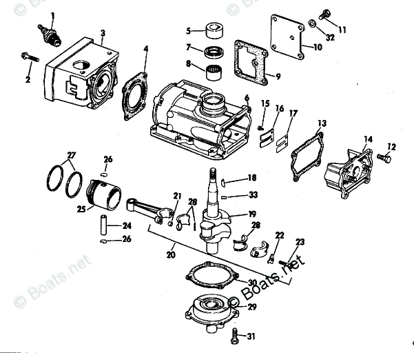 Evinrude Outboard Parts by HP 1.5HP OEM Parts Diagram for