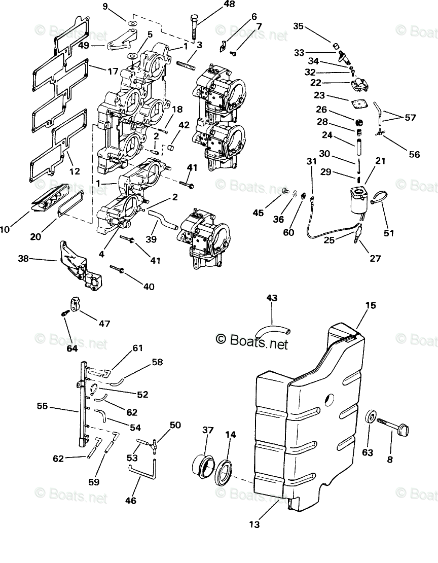 Johnson Outboard Parts by HP 200HP OEM Parts Diagram for