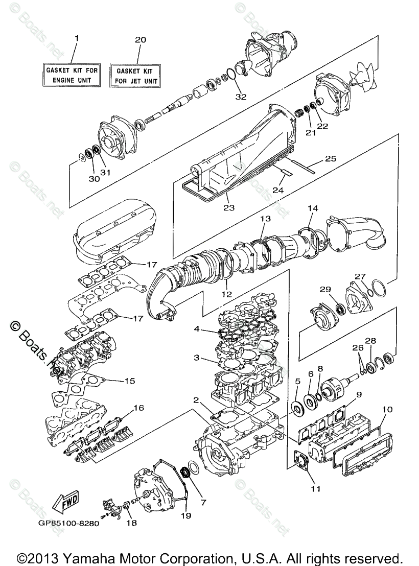 Yamaha Waverunner Parts 1998 OEM Parts Diagram for Repair
