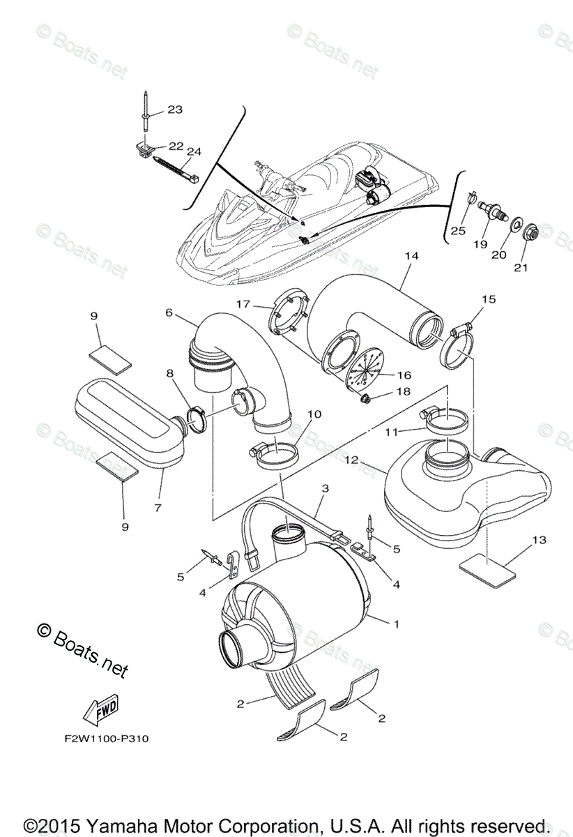Yamaha Waverunner Parts 2015 OEM Parts Diagram for Exhaust