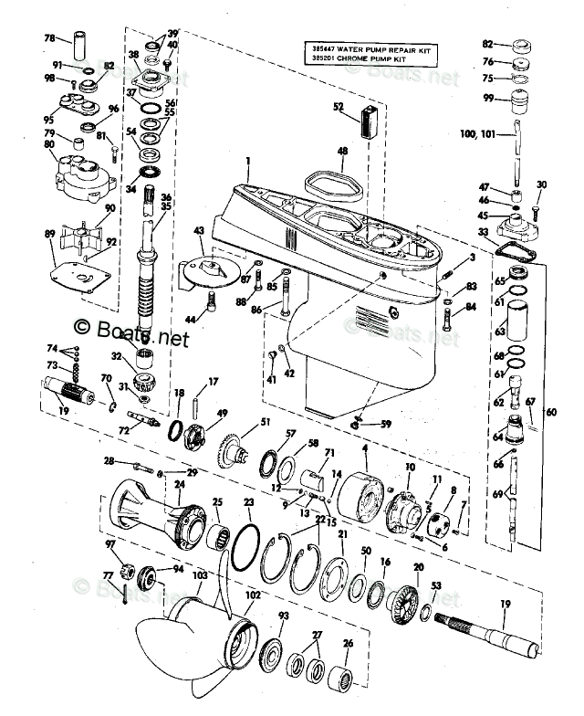 Evinrude Outboard Parts by HP 65HP OEM Parts Diagram for