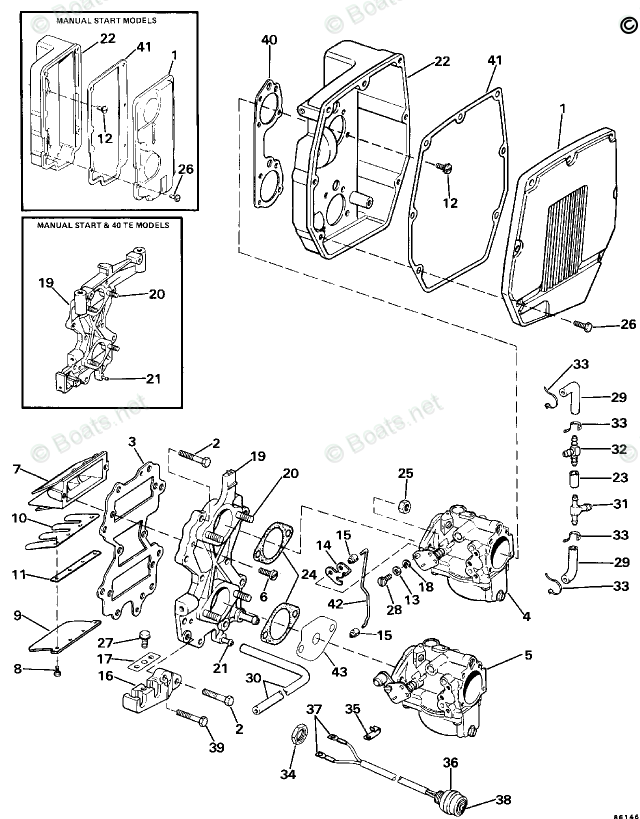 Evinrude Outboard Parts by HP 50HP OEM Parts Diagram for