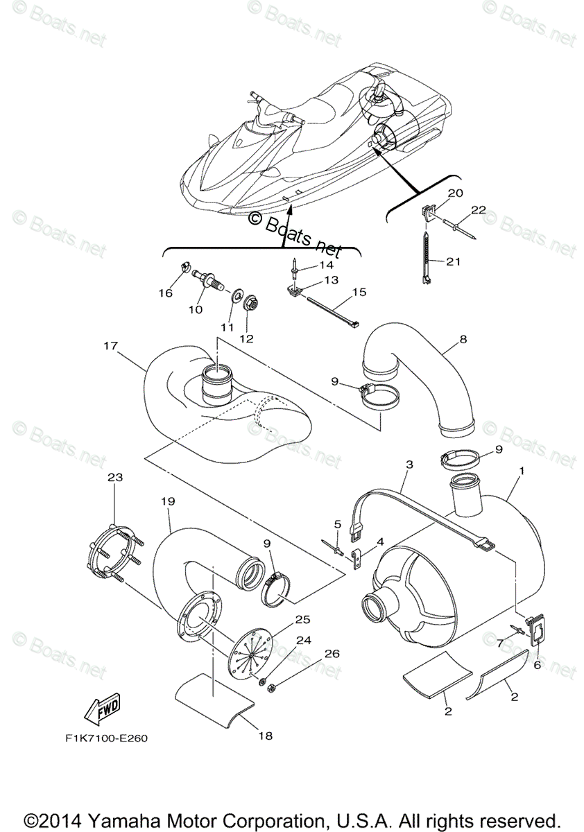 Yamaha Waverunner Parts 2006 OEM Parts Diagram for Exhaust