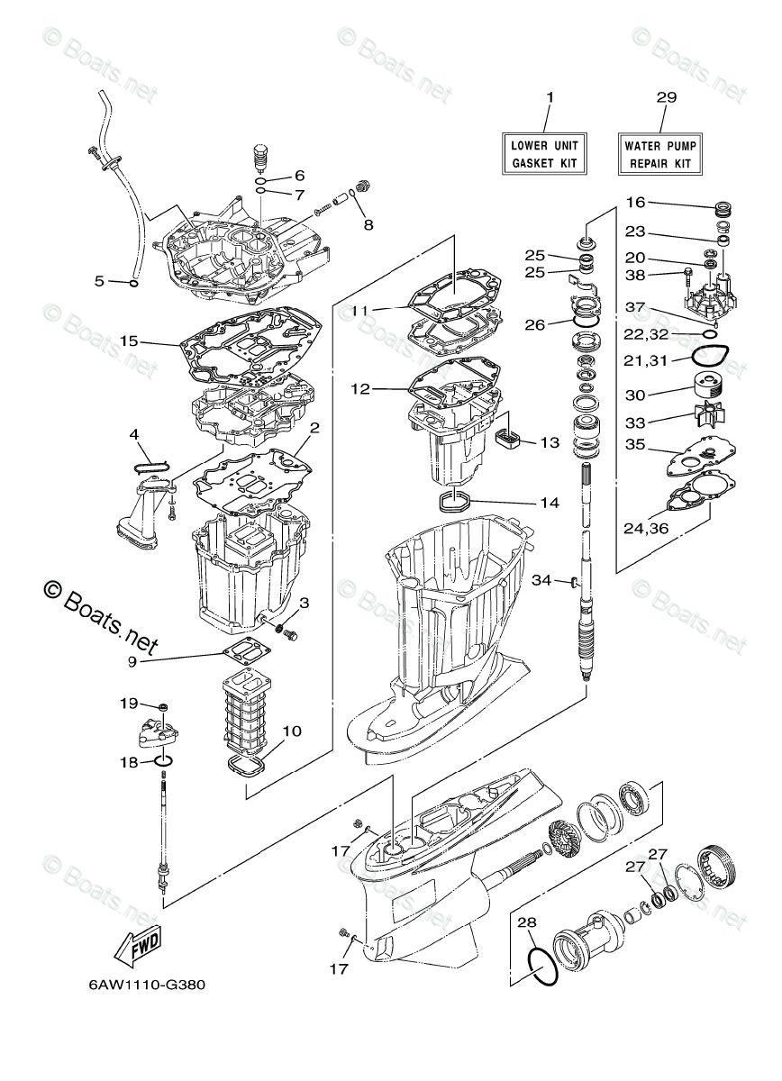 Yamaha Outboard Parts by HP 350HP OEM Parts Diagram for