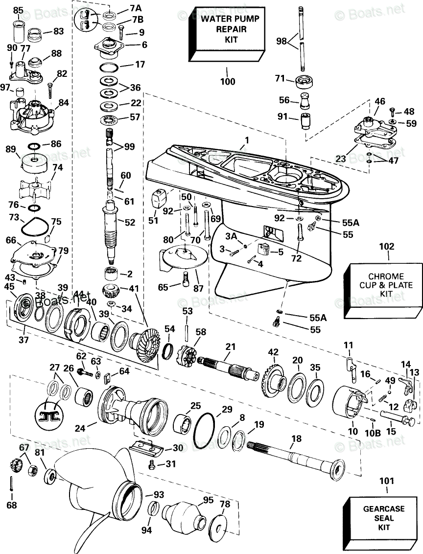 Johnson Outboard Parts by HP 150HP OEM Parts Diagram for