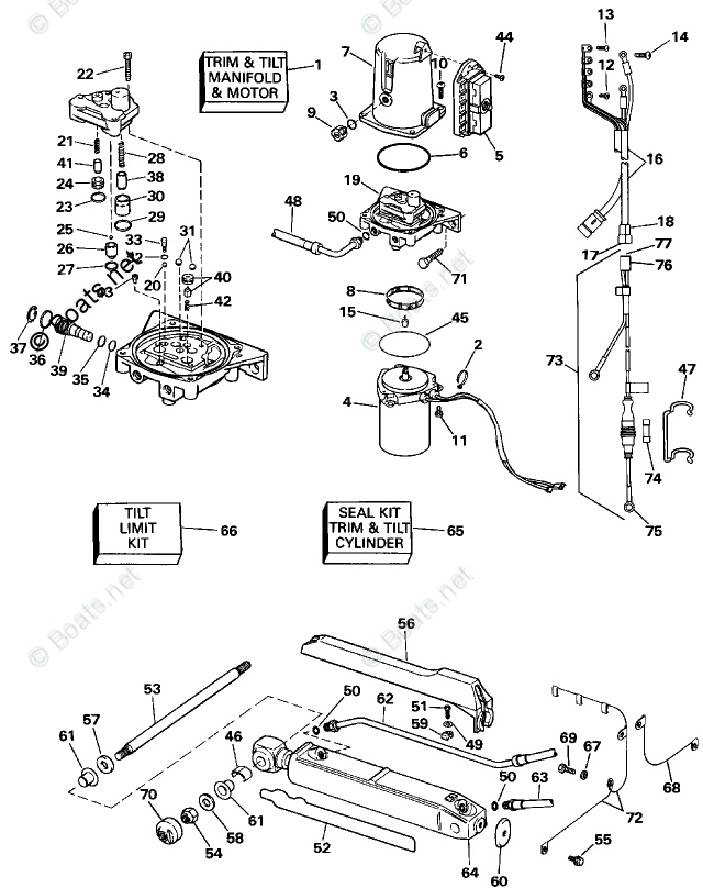 OMC Sterndrive Parts 5.0 Liter OEM Parts Diagram for Power