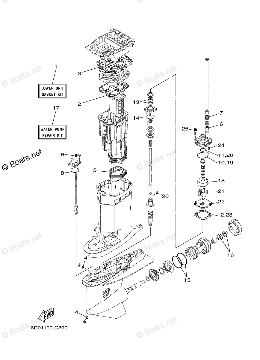 Yamaha Outboard Parts by HP 300HP OEM Parts Diagram for