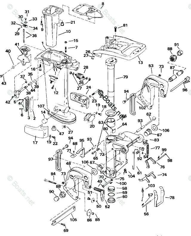 Evinrude Outboard Parts by HP 20HP OEM Parts Diagram for